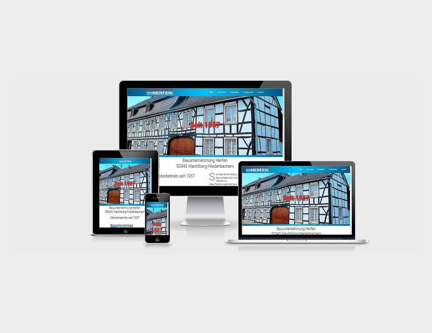 Webdesign Eifel erstellte Webseite fuer Bauunternehmung Herfen GmbH in Bonn Wachtberg